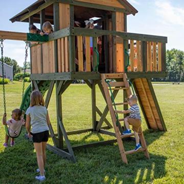 Backyard Discovery Spielturm Eagles Nest Elite aus Holz | XXL Spielhaus für Kinder mit Rutsche, Schaukel, Nestschaukel, Kletterwand und Sandkasten| Stelzenhaus für den Garten - 5
