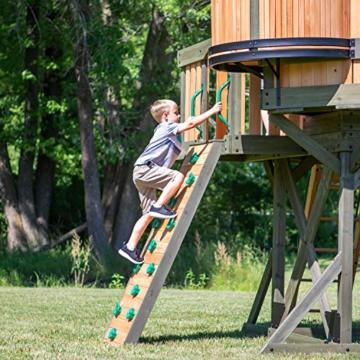 Backyard Discovery Spielturm Eagles Nest Elite aus Holz | XXL Spielhaus für Kinder mit Rutsche, Schaukel, Nestschaukel, Kletterwand und Sandkasten| Stelzenhaus für den Garten - 6