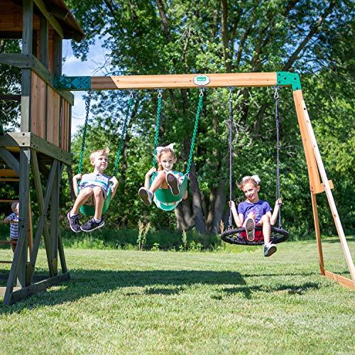 Backyard Discovery Spielturm Eagles Nest Elite aus Holz   XXL Spielhaus für Kinder mit Rutsche, Schaukel, Nestschaukel, Kletterwand und Sandkasten  Stelzenhaus für den Garten - 7