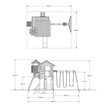 Backyard Discovery Spielturm Eagles Nest Elite aus Holz | XXL Spielhaus für Kinder mit Rutsche, Schaukel, Nestschaukel, Kletterwand und Sandkasten| Stelzenhaus für den Garten - 9