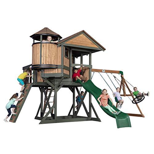 Backyard Discovery Spielturm Eagles Nest Elite aus Holz   XXL Spielhaus für Kinder mit Rutsche, Schaukel, Nestschaukel, Kletterwand und Sandkasten  Stelzenhaus für den Garten - 1