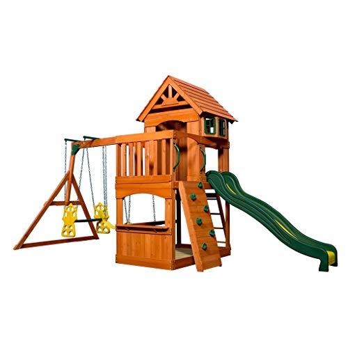 Backyard Discovery Spielturm Holz Atlantic | Stelzenhaus für Kinder mit Rutsche, Schaukel, Kletterwand | XXL Spielhaus / Kletterturm für den Garten - 2