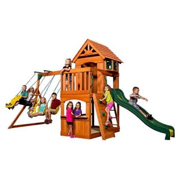Backyard Discovery Spielturm Holz Atlantic   Stelzenhaus für Kinder mit Rutsche, Schaukel, Kletterwand   XXL Spielhaus / Kletterturm für den Garten - 3