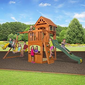 Backyard Discovery Spielturm Holz Atlantic   Stelzenhaus für Kinder mit Rutsche, Schaukel, Kletterwand   XXL Spielhaus / Kletterturm für den Garten - 4