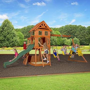 Backyard Discovery Spielturm Holz Atlantic   Stelzenhaus für Kinder mit Rutsche, Schaukel, Kletterwand   XXL Spielhaus / Kletterturm für den Garten - 5