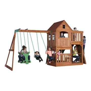 Backyard Discovery Spielturm Holz Hillcrest | XXL Spielhaus für Kinder mit Rutsche, Sandkasten, Schaukel, Kletterwand und Picknicktisch | Stelzenhaus für den Garten - 2