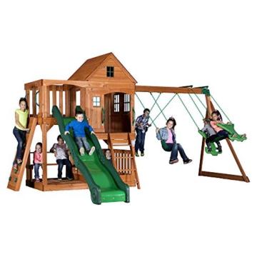 Backyard Discovery Spielturm Holz Hillcrest | XXL Spielhaus für Kinder mit Rutsche, Sandkasten, Schaukel, Kletterwand und Picknicktisch | Stelzenhaus für den Garten - 3