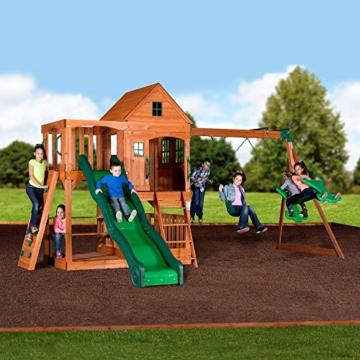 Backyard Discovery Spielturm Holz Hillcrest | XXL Spielhaus für Kinder mit Rutsche, Sandkasten, Schaukel, Kletterwand und Picknicktisch | Stelzenhaus für den Garten - 4