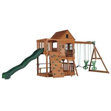 Backyard Discovery Spielturm Holz Hillcrest | XXL Spielhaus für Kinder mit Rutsche, Sandkasten, Schaukel, Kletterwand und Picknicktisch | Stelzenhaus für den Garten - 1