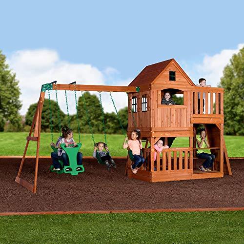 Backyard Discovery Spielturm Holz Hillcrest | XXL Spielhaus für Kinder mit Rutsche, Sandkasten, Schaukel, Kletterwand und Picknicktisch | Stelzenhaus für den Garten - 5