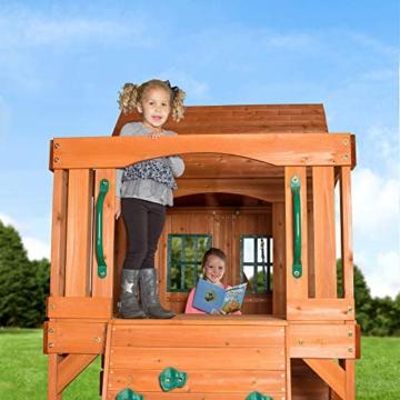 Backyard Discovery Spielturm Holz Hillcrest | XXL Spielhaus für Kinder mit Rutsche, Sandkasten, Schaukel, Kletterwand und Picknicktisch | Stelzenhaus für den Garten - 6
