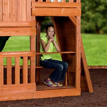 Backyard Discovery Spielturm Holz Hillcrest | XXL Spielhaus für Kinder mit Rutsche, Sandkasten, Schaukel, Kletterwand und Picknicktisch | Stelzenhaus für den Garten - 7