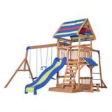 Backyard Discovery Spielturm Holz Northbrook | Spielplatz für Kinder mit Rutsche, Sandkasten, Schaukel und Picknicktisch | Schaukelset für den Garten - 1