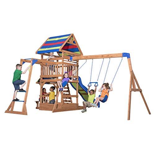 Backyard Discovery Spielturm Holz Northbrook | Spielplatz für Kinder mit Rutsche, Sandkasten, Schaukel und Picknicktisch | Schaukelset für den Garten - 4