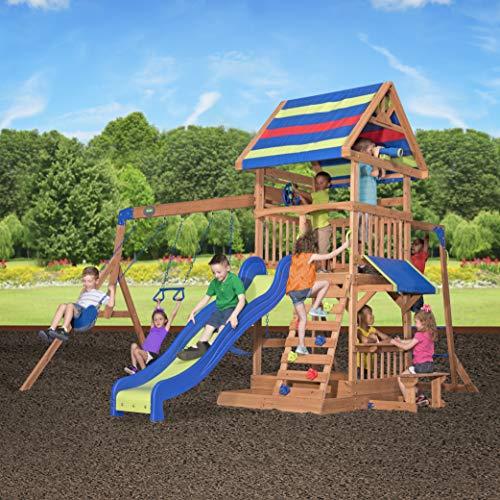 Backyard Discovery Spielturm Holz Northbrook   Spielplatz für Kinder mit Rutsche, Sandkasten, Schaukel und Picknicktisch   Schaukelset für den Garten - 7