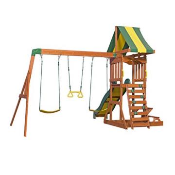 Backyard Discovery Spielturm Holz Sunnydale | Spielplatz für Kinder mit Rutsche, Sandkasten, Schaukel und Picknicktisch | Schaukelset für den Garten - 2