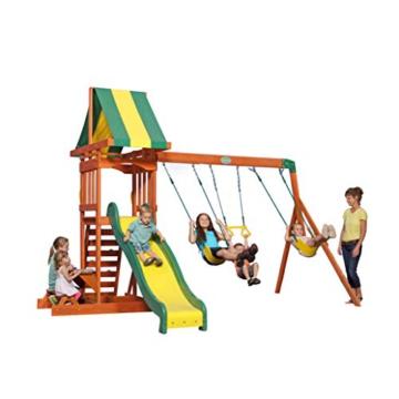 Backyard Discovery Spielturm Holz Sunnydale | Spielplatz für Kinder mit Rutsche, Sandkasten, Schaukel und Picknicktisch | Schaukelset für den Garten - 3