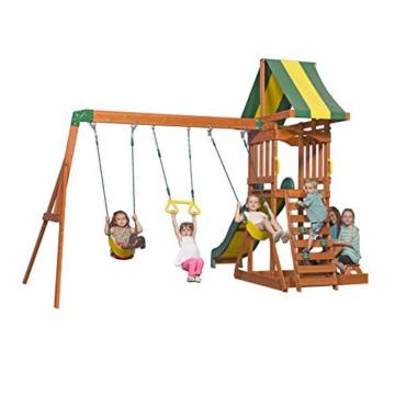 Backyard Discovery Spielturm Holz Sunnydale | Spielplatz für Kinder mit Rutsche, Sandkasten, Schaukel und Picknicktisch | Schaukelset für den Garten - 4