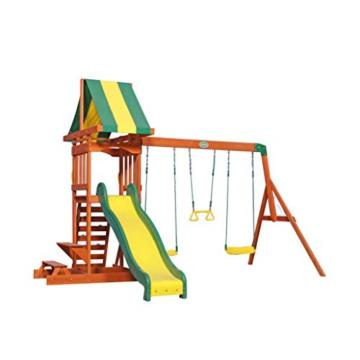 Backyard Discovery Spielturm Holz Sunnydale | Spielplatz für Kinder mit Rutsche, Sandkasten, Schaukel und Picknicktisch | Schaukelset für den Garten - 1