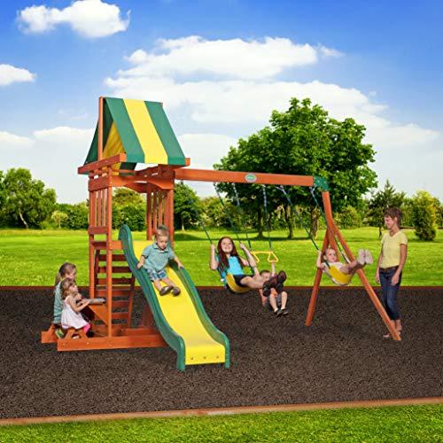 Backyard Discovery Spielturm Holz Sunnydale | Spielplatz für Kinder mit Rutsche, Sandkasten, Schaukel und Picknicktisch | Schaukelset für den Garten - 5