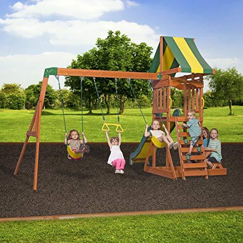 Backyard Discovery Spielturm Holz Sunnydale | Spielplatz für Kinder mit Rutsche, Sandkasten, Schaukel und Picknicktisch | Schaukelset für den Garten - 6