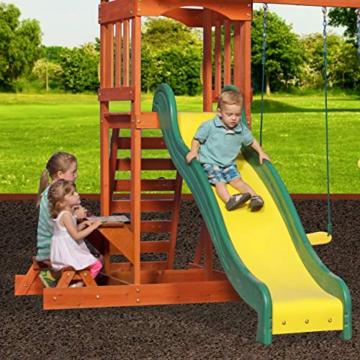 Backyard Discovery Spielturm Holz Sunnydale | Spielplatz für Kinder mit Rutsche, Sandkasten, Schaukel und Picknicktisch | Schaukelset für den Garten - 7