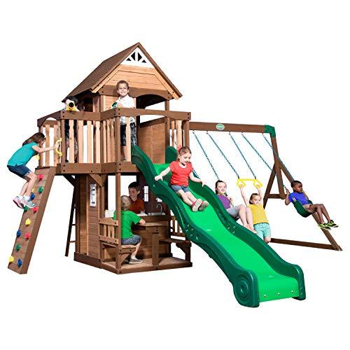 Backyard Discovery Spielturm Mount Triumph aus Holz | XXL Spielhaus für Kinder mit Rutsche, Schaukeln, Trapezstange, Spielküche und Picknicktisch | Stelzenhaus für den Garten - 2