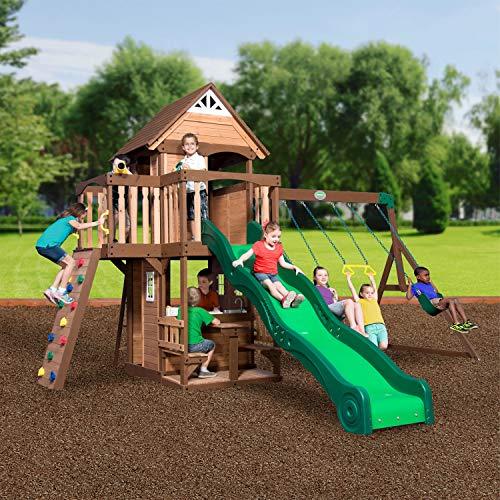 Backyard Discovery Spielturm Mount Triumph aus Holz   XXL Spielhaus für Kinder mit Rutsche, Schaukeln, Trapezstange, Spielküche und Picknicktisch   Stelzenhaus für den Garten - 3