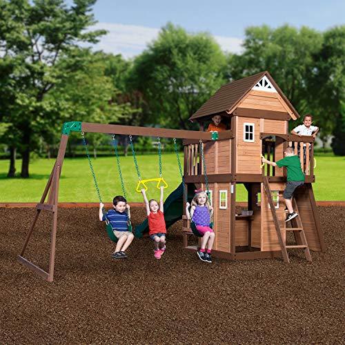 Backyard Discovery Spielturm Mount Triumph aus Holz   XXL Spielhaus für Kinder mit Rutsche, Schaukeln, Trapezstange, Spielküche und Picknicktisch   Stelzenhaus für den Garten - 4