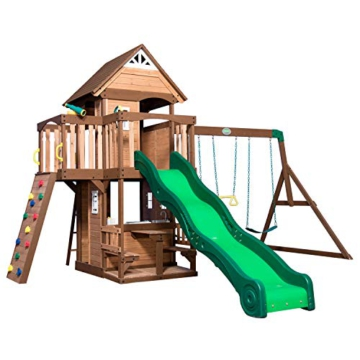 Backyard Discovery Spielturm Mount Triumph aus Holz   XXL Spielhaus für Kinder mit Rutsche, Schaukeln, Trapezstange, Spielküche und Picknicktisch   Stelzenhaus für den Garten - 1