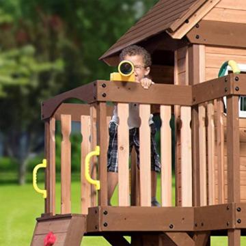 Backyard Discovery Spielturm Mount Triumph aus Holz   XXL Spielhaus für Kinder mit Rutsche, Schaukeln, Trapezstange, Spielküche und Picknicktisch   Stelzenhaus für den Garten - 5