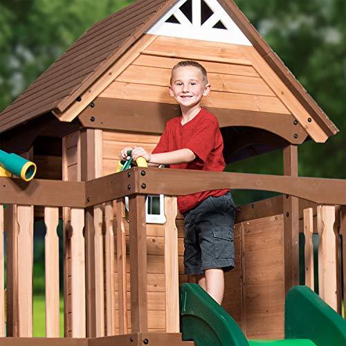 Backyard Discovery Spielturm Mount Triumph aus Holz | XXL Spielhaus für Kinder mit Rutsche, Schaukeln, Trapezstange, Spielküche und Picknicktisch | Stelzenhaus für den Garten - 6
