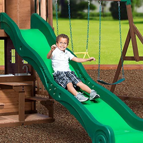 Backyard Discovery Spielturm Mount Triumph aus Holz | XXL Spielhaus für Kinder mit Rutsche, Schaukeln, Trapezstange, Spielküche und Picknicktisch | Stelzenhaus für den Garten - 8