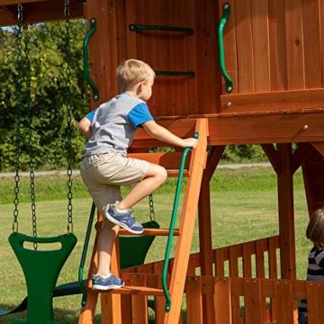 Backyard Discovery Spielturm Skyfort II aus Holz   XXL Spielhaus für Kinder mit Rutsche, Schaukel, Kletterwand und Aussichtsturm   Stelzenhaus für den Garten - 4