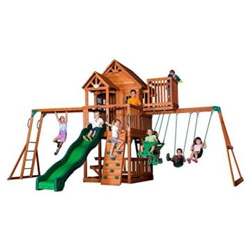 Backyard Discovery Spielturm Skyfort II aus Holz   XXL Spielhaus für Kinder mit Rutsche, Schaukel, Kletterwand und Aussichtsturm   Stelzenhaus für den Garten - 1