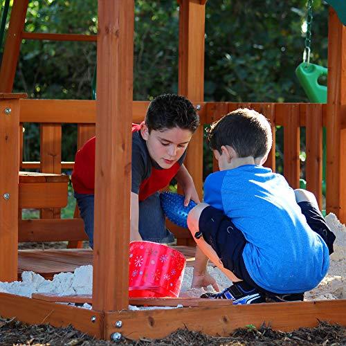 Backyard Discovery Spielturm Skyfort II aus Holz | XXL Spielhaus für Kinder mit Rutsche, Schaukel, Kletterwand und Aussichtsturm | Stelzenhaus für den Garten - 5