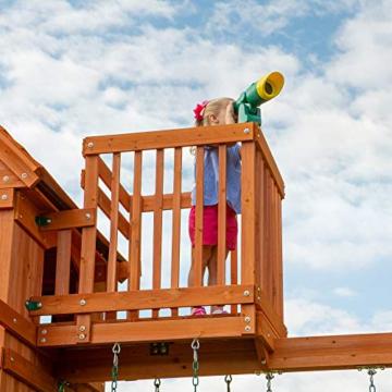 Backyard Discovery Spielturm Skyfort II aus Holz   XXL Spielhaus für Kinder mit Rutsche, Schaukel, Kletterwand und Aussichtsturm   Stelzenhaus für den Garten - 7