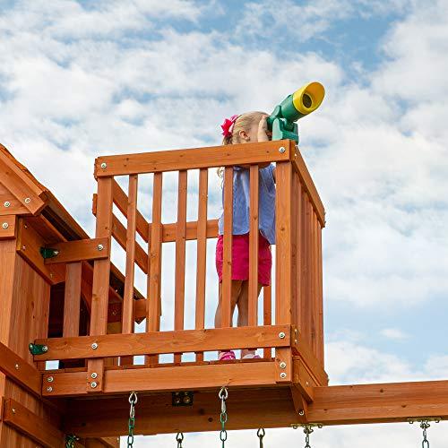 Backyard Discovery Spielturm Skyfort II aus Holz | XXL Spielhaus für Kinder mit Rutsche, Schaukel, Kletterwand und Aussichtsturm | Stelzenhaus für den Garten - 7