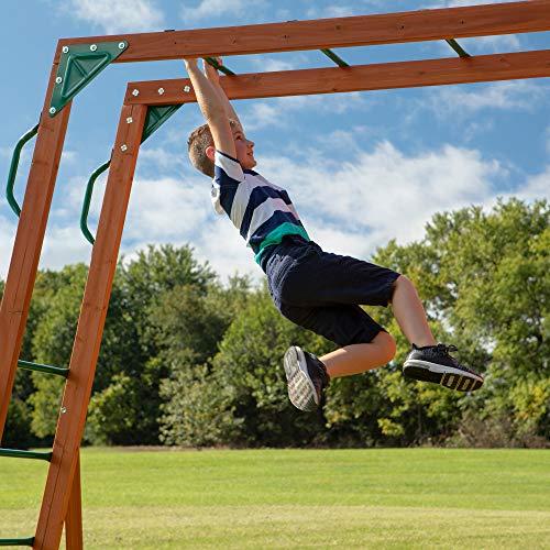 Backyard Discovery Spielturm Skyfort II aus Holz | XXL Spielhaus für Kinder mit Rutsche, Schaukel, Kletterwand und Aussichtsturm | Stelzenhaus für den Garten - 8