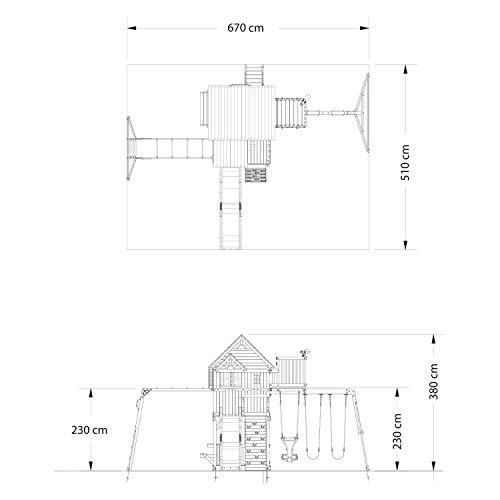 Backyard Discovery Spielturm Skyfort II aus Holz | XXL Spielhaus für Kinder mit Rutsche, Schaukel, Kletterwand und Aussichtsturm | Stelzenhaus für den Garten - 9