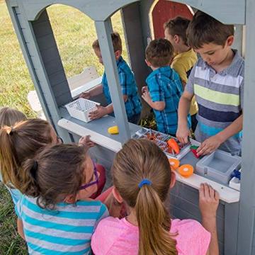 Beauty.Scouts Holzspielhaus Cooper mit viel Spielzubehör 279,4x170,2x221cm aus Zedernholz in grau Kinder Spielhaus Kinderspielhaus Gartenhaus Schwedenhaus Stil - 6