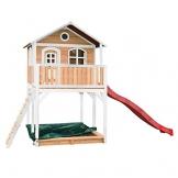 Beauty.Scouts Holzspielhaus Maine III 212x506x323cm Hemlock Holz braun-weiß Rutsche+Sandkasten Kinderspielhaus Spielhaus Holzhaus Gartenhaus Garten Kinderhaus Farbe rot - 1