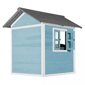 Beauty.Scouts Holzspielhaus Sun 102x94x133cm aus Zedernholz in blau-weiß Kinder Spielhaus Kinderspielhaus modern Spitzdach Schwedenhaus Stil gemütlich - 2