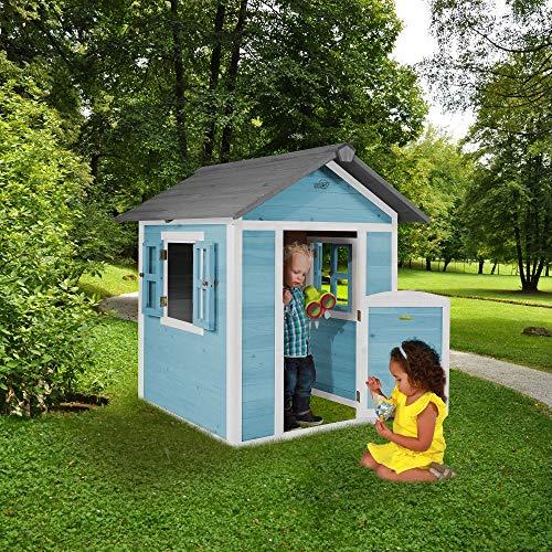 Beauty.Scouts Holzspielhaus Sun 102x94x133cm aus Zedernholz in blau-weiß Kinder Spielhaus Kinderspielhaus modern Spitzdach Schwedenhaus Stil gemütlich - 3