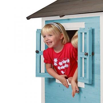 Beauty.Scouts Holzspielhaus Sun 102x94x133cm aus Zedernholz in blau-weiß Kinder Spielhaus Kinderspielhaus modern Spitzdach Schwedenhaus Stil gemütlich - 4