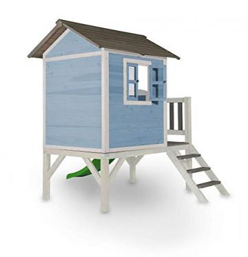 Beauty.Scouts Holzspielhaus Sun XL mit Leiter + Rutsche 168x261x189cm aus Holz in blau-weiß Kinder Kinderspielhaus Holzhaus Stelzenhaus Liebe zum Detail - 2