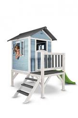Beauty.Scouts Holzspielhaus Sun XL mit Leiter + Rutsche 168x261x189cm aus Holz in blau-weiß Kinder Kinderspielhaus Holzhaus Stelzenhaus Liebe zum Detail - 1