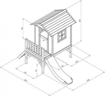 Beauty.Scouts Holzspielhaus Sun XL mit Leiter + Rutsche 168x261x189cm aus Holz in blau-weiß Kinder Kinderspielhaus Holzhaus Stelzenhaus Liebe zum Detail - 3