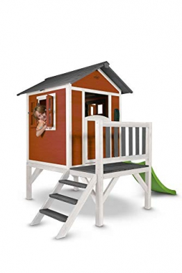 Beauty.Scouts Holzspielhaus Sun XL mit Leiter + Rutsche 168x261x189cm aus Holz in rot-weiß Kinder Kinderspielhaus Holzhaus Stelzenhaus Liebe zum Detail - 1