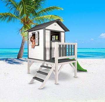 Beauty.Scouts Holzspielhaus Sun XL mit Leiter + Rutsche 168x261x189cm aus Holz in grau-weiß Kinder Kinderspielhaus Holzhaus Stelzenhaus Liebe zum Detail - 2